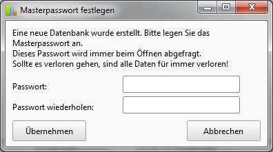 Masterpasswort für Passwortverwaltung festlegen.