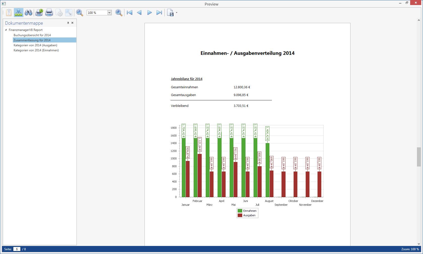 Individuelle Berichte im Haushaltsbuch