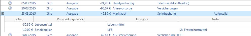 Mit Version 11.0.1.0 meines Haushaltsbuchs können nun auch Splittbuchungen verwaltet werden