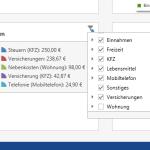 Übersicht aller verfügbaren Kategorien im Dashboard