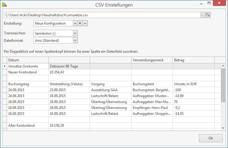 Inhalt einer CSV-Datei