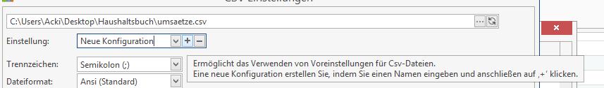 Neue Konfiguration für eine CSV-Datei