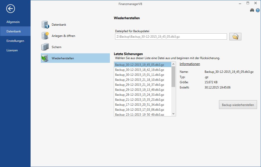 Übersicht aller vorhandenen Backups Ihrer Datenbank