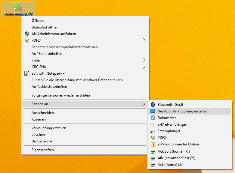 Eine bestehende Verknüpfung auf dem Desktop kopieren