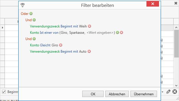 Filtereditor für die Autovervollständigung.
