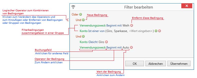 Erklärung der grafischen Elemente des Filtereditors