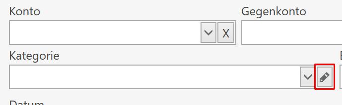 Kategorieverwaltung aus der Buchungsansicht direkt öffnen