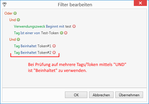 "Tokens / Tags über den Operator ""Beinhaltet"" filtern"