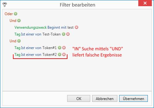 "Tokens / Tags über den Operator ""IN"" filtern"