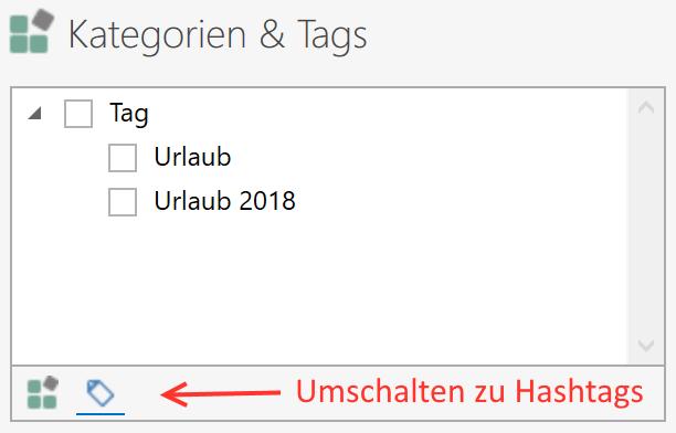 Liste der Hashtags aufrufen