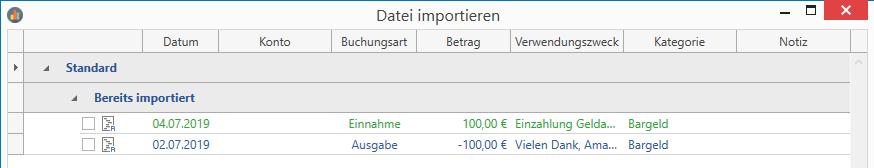 Erkennung bereits importierter Buchungen