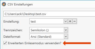 """Manche CSV Dateien entsprechen nicht den Vorgaben einer """"gültigen"""" CSV - Datei und mit Aktivieren dieser Option ist es möglich diese trotzdem zu verwenden."""