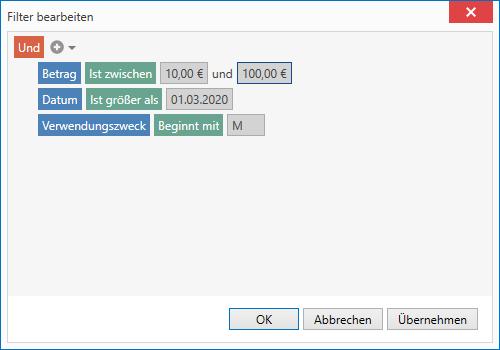 Die Buchungen können auch mit Hilfe eines Filters dargestellt werden.